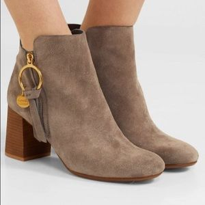 SEE BY CHLOE Suede wood heel ankle boots & charms
